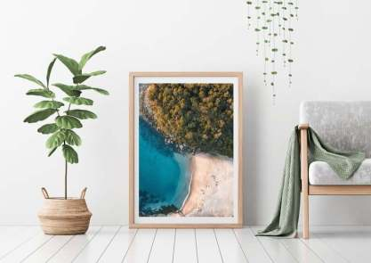 manly beach arial drone view print