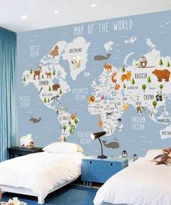 childrens world map wall art