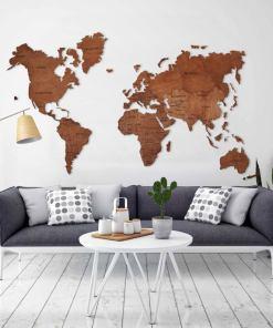 wooden world map wall art