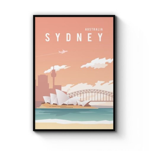 Sydney harbour and skyline retro print