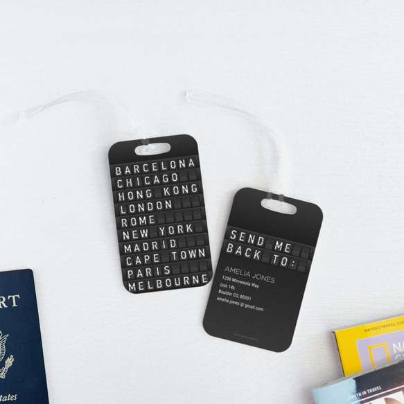 flight board luggage tag