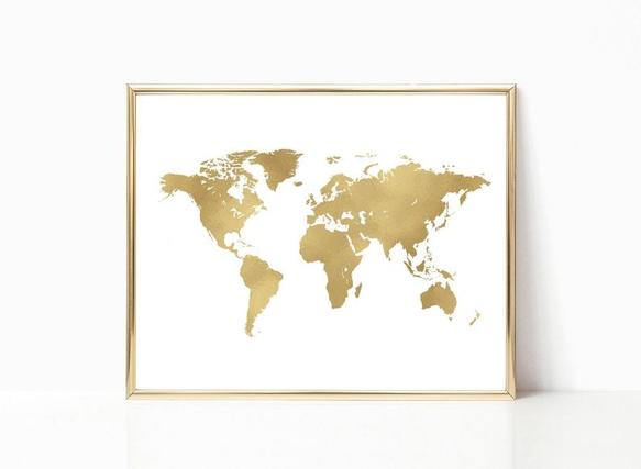 gold wall map