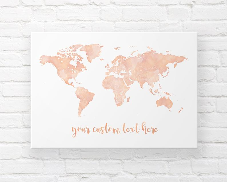 rose gold wall map