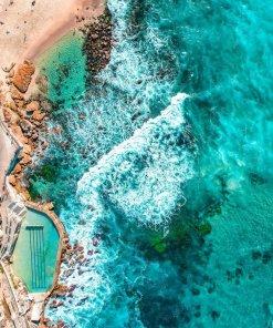 Bronte baths bogey hole ocean pool Sydney aerial photography