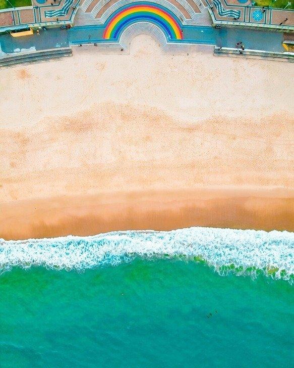 Coogee beach rainbow steps aerial drone photography Sydney
