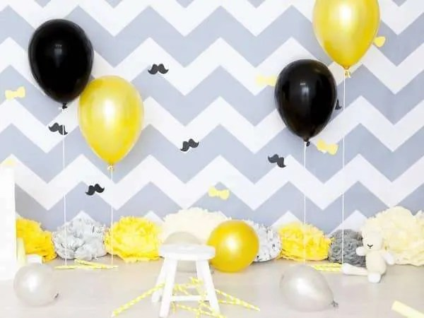 Balloons filled with candy and decor