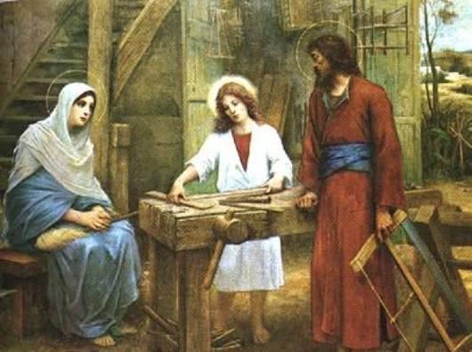 Keluarga Kudus. Gambar ini di Gereja Santo Joseph di Nazareth menggambarkan kehidupan setiap hari dari Keluarga Kudus. holylandnetwork.com