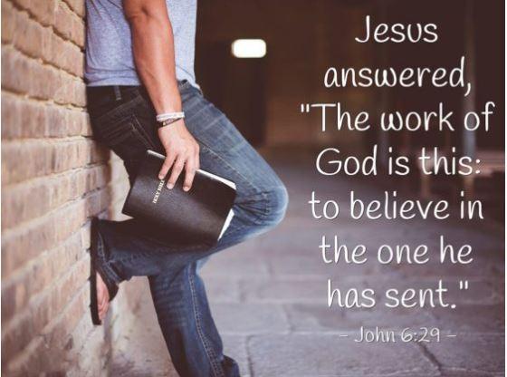 """Yoh. 6:22-29 """"Berkerjalah, bukan untuk makanan yang akan dapat binasa, melainkan untuk makanan yang bertahan sampai kepada hidup yang kekal."""""""