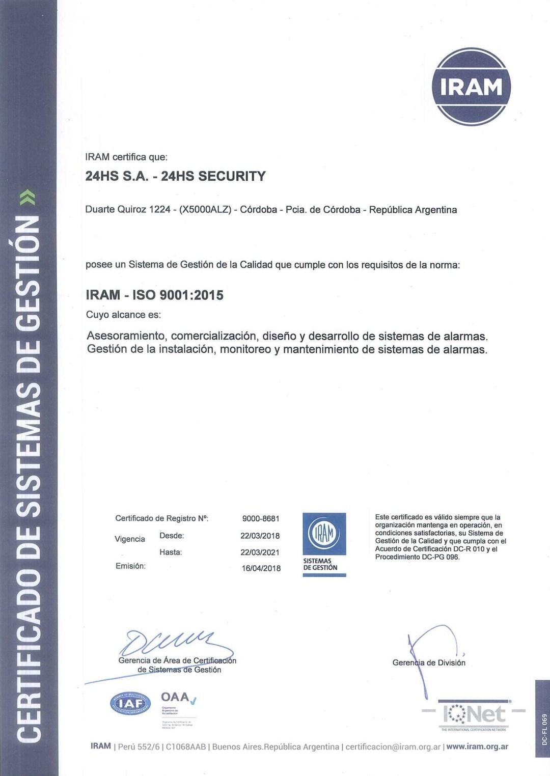 Certificado ISO9001:2015 IRAM