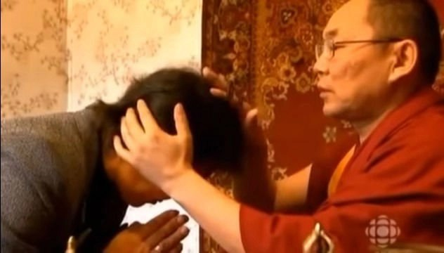 Tibetan Monk Physician and patient