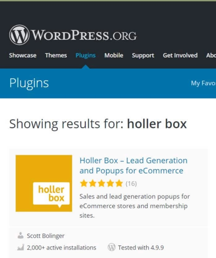 holler box plugin screenshot