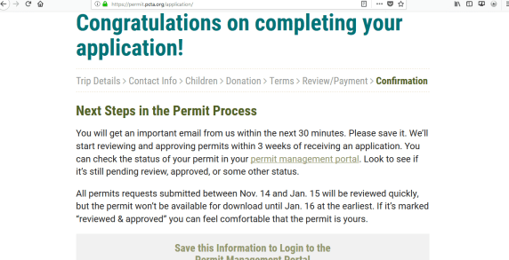 PCT PCTA Permit