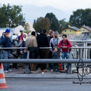 One of the main bridges from Austria to Germany blocked. Refugees await in line.