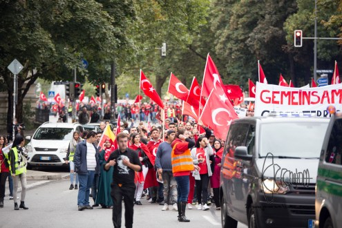 Turkish nationalists rally against Kurds and for Erdogans politics against the PKK.