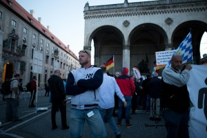"pegida 210915 5 - Posing racist - that called counter protestors ""dirty muslims"""