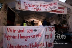 Entrance of the protest tent refugees held a hunger strike in for 9 days.