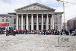 Bikers arrive at Max-Joseph-Platz, Munich city center.