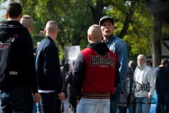 Typical neonazi clothing amongst demonstrators.