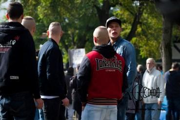 Typical neonazi clothing amongst demonstrators.