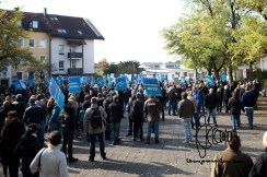 AfD demonstrators gather in Freilassing.