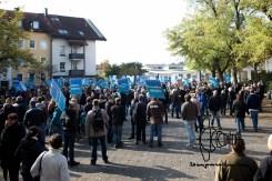 AfD demonstrators gather in Freilassing.