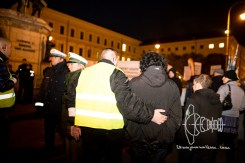 Petra K. - part of the neonzi terrorist group - gets a friendly hug from Stefan S. after attacking press members.