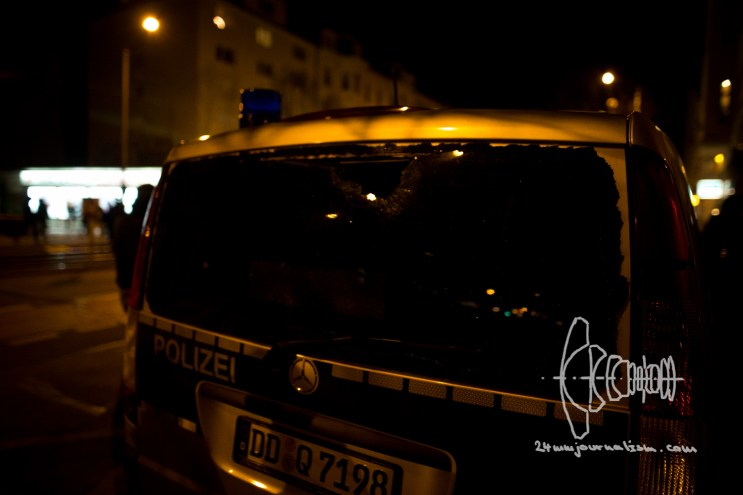 Back widow of a police car broken.
