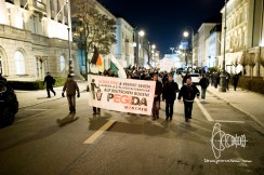 PEGIDA march approaches memorial at Carolinenplatz.