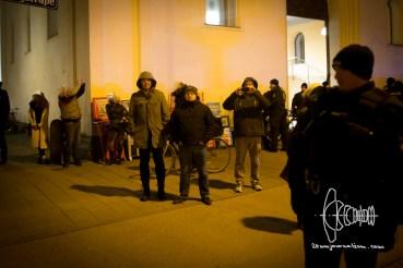 Convicted neo-nazi terrorist Karl Heinz Statzberger walks up to antifacist road-block.
