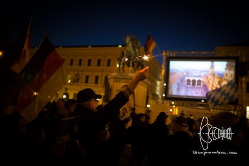 PEGIDA Munich starts at Odeonsplatz.