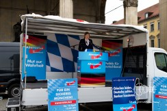 The right-wing party AfD held a rally on Odeonsplatz Munich today. Party functionaries held speeches demanding more security in times of terror threats for Munich. Neonazis and PEGIDA members joined the rally.