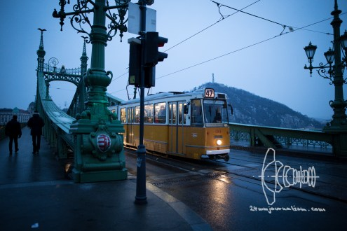 A classic tramway leaving Freedom Bridge.