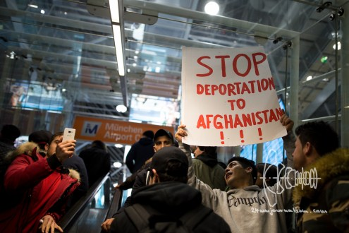 Germany deports to Afghanistan from Munich airport - activists rally at Munich airport - early 0