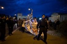 PEGIDA is directed aside of the roadblock - a known hooligan kicks into the blockade.