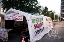 Front of the protest tent - a sign states_ 4 days of dry hunger strike.