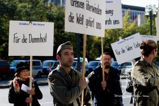 Creative protest against day of German unity.