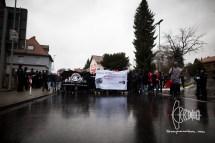 Antifacists arriving in Büdingen.