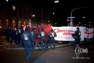 Antifacist counter protestors get closer to the PEGIDA route.