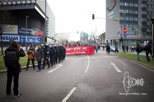 """Solidarity without Limits"" demonstration against PEGIDA on February 6th."