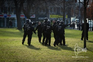 Police intervenes and pushes back neo-nazis.