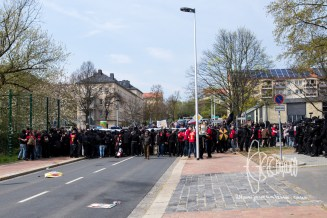 Neonazis throw objects on police after the facists were forced to a full stop due to 'unsafeness' of the route.