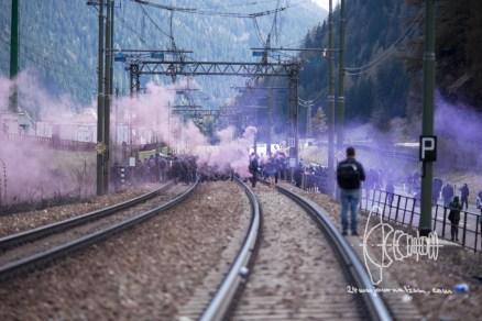 Protestors move back over traintracks.