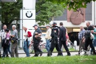 PEGIDA is guided to the subway station.