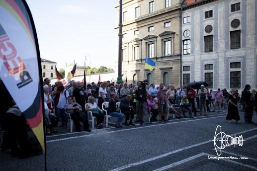 PEGIDA gathers on Odeonsplatz.