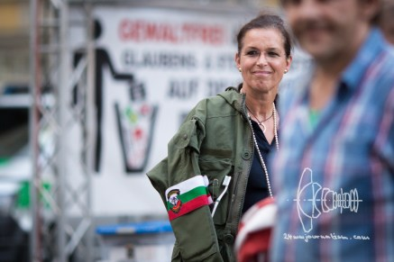 Tatjana Festerling with a toothbrush and her unifom of the illegal Bulgarian border patrol she went after refugees with.