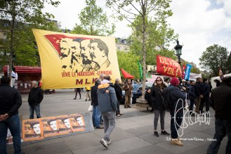 A banner paraising Marxism and Leninism.