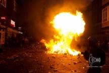 Hairspray exploding in burning barrier