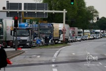 Traffic jam behind demonstration