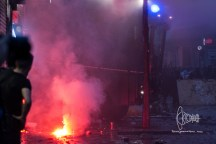 Flare burning next to water cannon