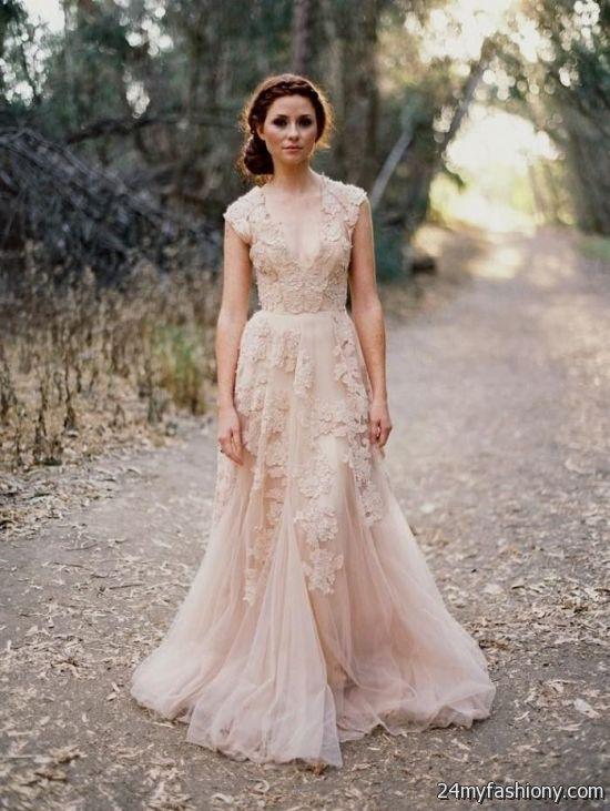 Reem Acra Blush Lace Wedding Dress 2016 2017 B2B Fashion